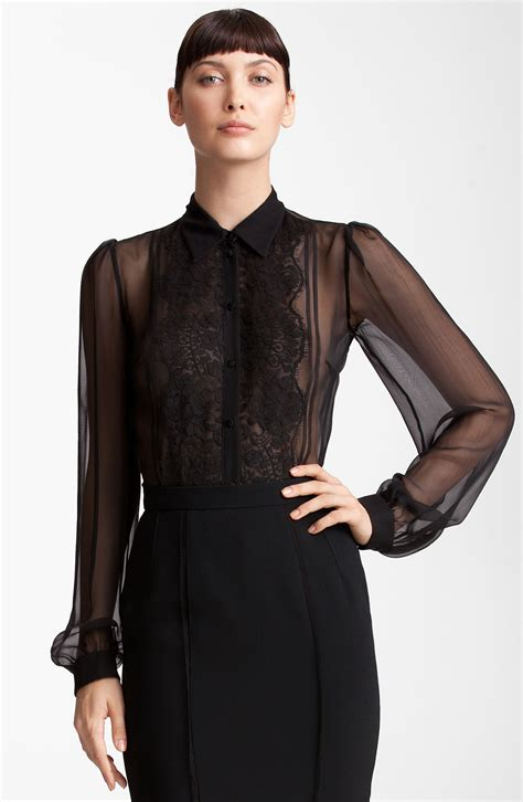 Sheer Black Blouse by Dolce Gabbana Sheer Chiffon Blouse In Black Lyst