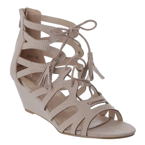 tie up wedge sandals womens lace tie up low wedge heel cut out gladiator