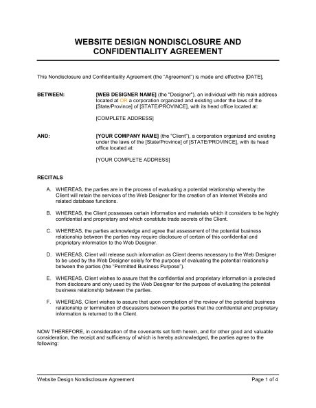 Sle Letter Of Agreement Web Design Website Design Non Disclosure Agreement Template Sle Form Biztree