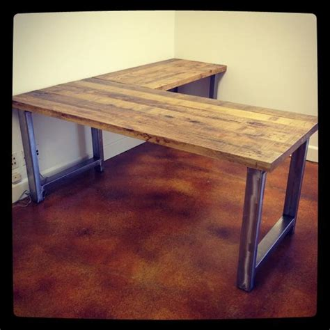 reclaimed wood corner desk industrial style desk with reclaimed wood top