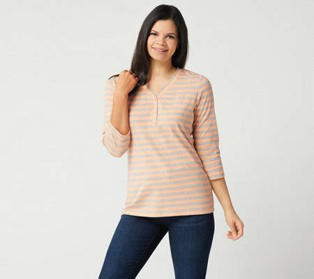 3 4 Sleeve Striped Knit Top denim co 3 4 sleeve striped knit top page 1 qvc