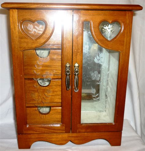 light wood jewelry armoire light cherry wood armoire jewelry box with drawers and door