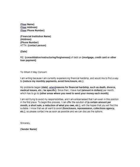 Financial Hardship Letter Unemployment financial hardship letter template letter template 2017