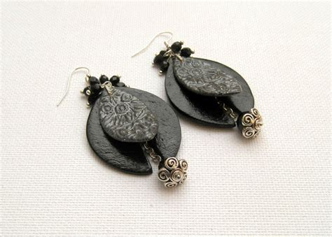 Handmade Statement Earrings - statement earrings black earrings black grey handmade