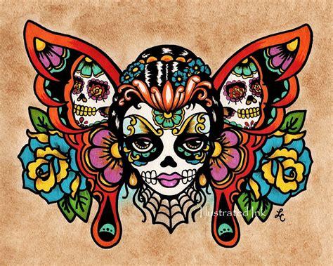 watercolor sugar skull tattoo items similar to sale day of the dead sugar skull