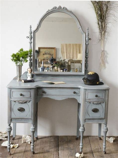 Vintage Bedroom Vanity With Mirror by Friday Favorites Blue Dressing Tables