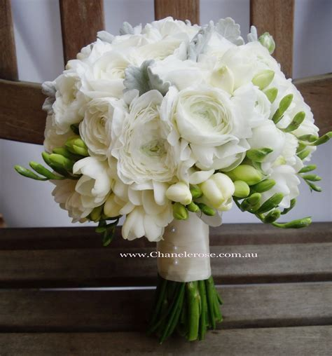 September Wedding Bouquets   White rannunculus bridal