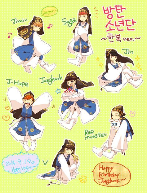 gambar anime bts lucu animasi kartun bts kolek gambar