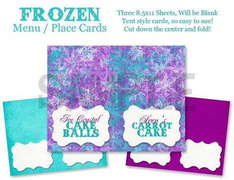 printable frozen menu frozen birthday menu cards place cards or label