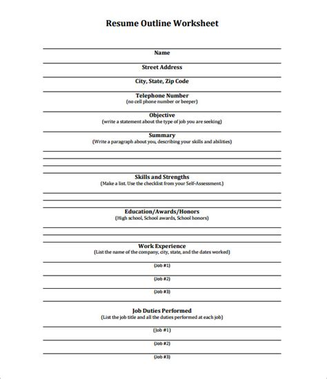 resume outline worksheet worksheets releaseboard free