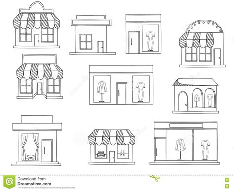 coloring book store store buildings coloring book vector stock vector image