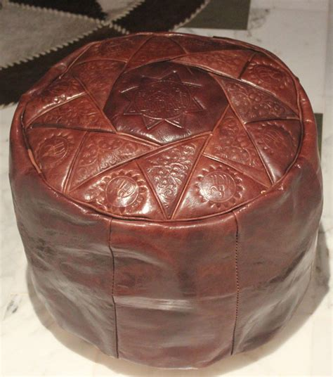 hassock ottoman footstool brown genuine leather moroccan pouf pouffe handmade