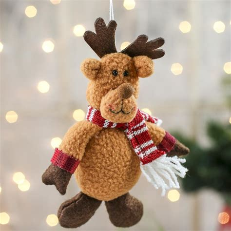 plush reindeer christmas ornament christmas ornaments