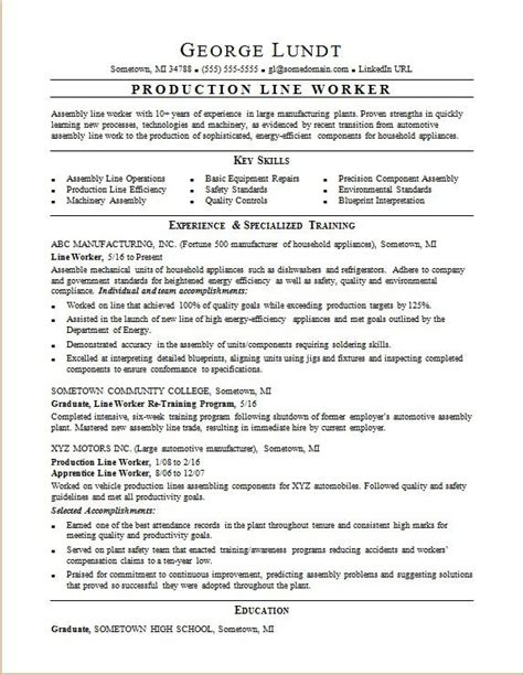 production worker resume objective production line resume sle