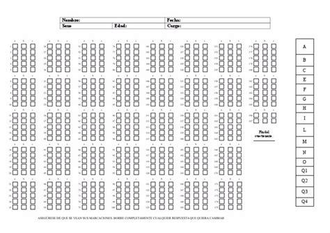 hoja de respuestas del cuestionario test de 16 factores de personalidad 16 pf version 4