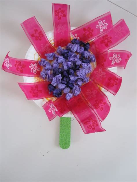 Arts And Crafts Tissue Paper Flowers - plate ribbon and tissue paper flower kid arts crafts