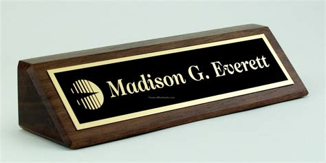 2 quot x 8 quot solid walnut desk nameplate with laser etched plate