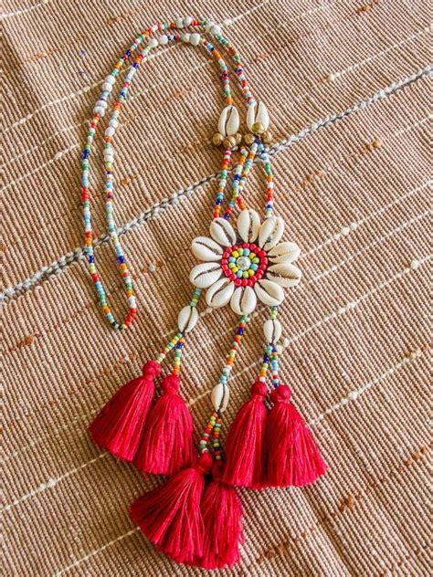Zara Hippy Tassel Ethnic akha seashell tassels necklace ethnic hippie tribal