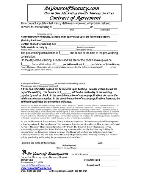 best photos of makeup artist bridal contract printable