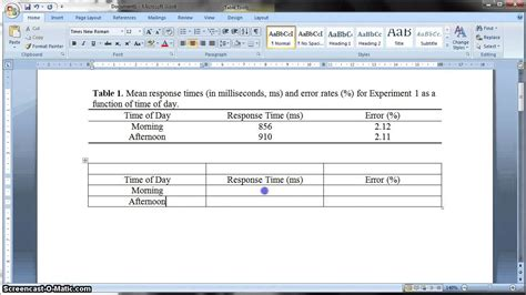 office 2007 apa template apa formatted table in ms word 2010