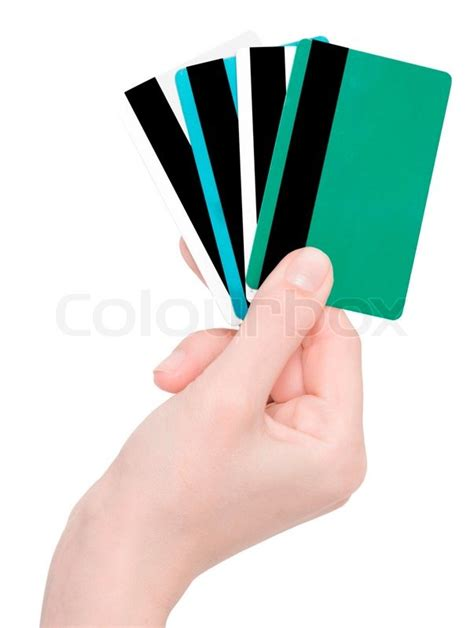 Holding Credit Card Template Holding Credit Cards Isolated On White Stock Photo Colourbox