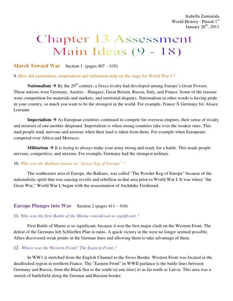 World History Chapter 13 Assessment Main Ideas 9 18