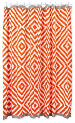Grey coral ikat shower curtain contemporary shower curtains