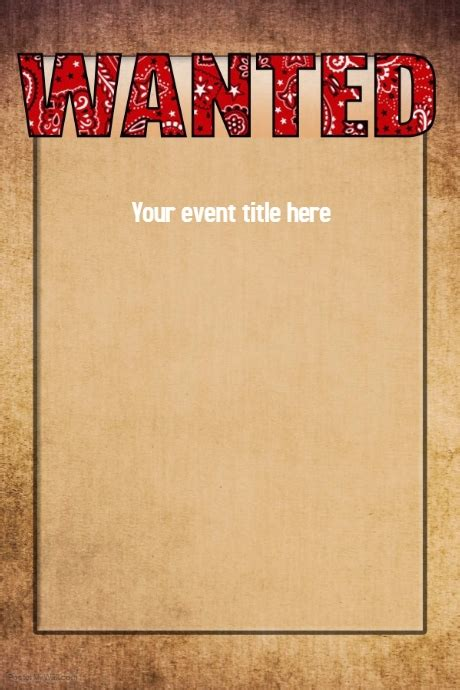 Copy Of Wanted Western Wild West Poster Event Flyer Western Wanted Poster Template