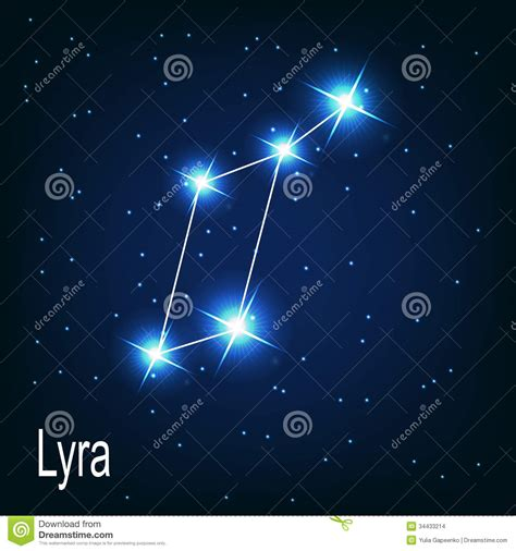 the constellation lyra star in the night sky stock vector