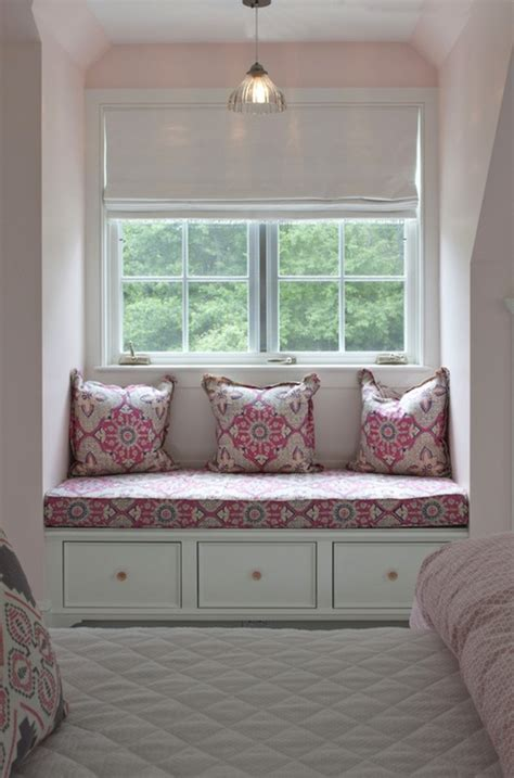 bedroom window bench pink and gray girls room transitional girl s room