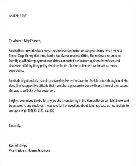 Reference Letter Colleague 6 sle colleague recommendation letter free sle