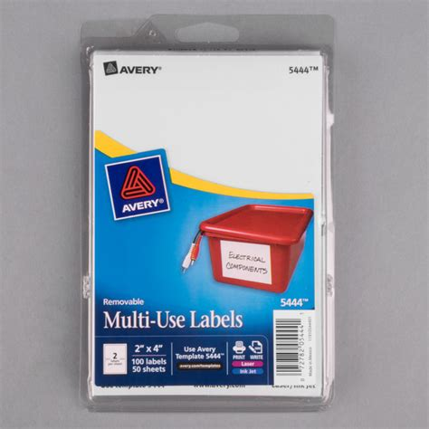 Avery 5444 2 Quot X 4 Quot White Rectangular Removable Write On Printable Labels 100 Pack Avery 5444 Template