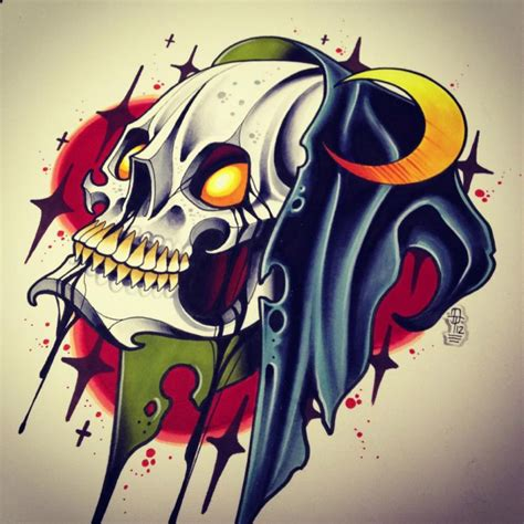 new school tattoo background traditional new school death skull and half moon on bloody