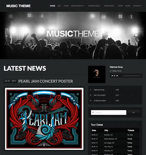 themes wordpress music band music theme wordpress themes by organic themes wordpress