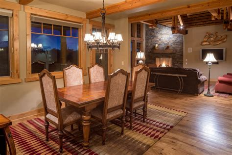 western dining room brasada ranch home view of dining room open living floor