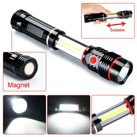 Lu Emergency 2 Led Cob Dengan Magnet Model Saklar new cob led magnetic black work light inspection flashlight 300lm l torch ebay