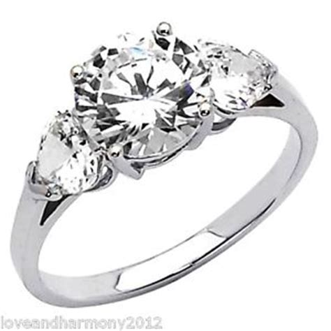 real 14k solid white gold 2 5ct brilliant cut