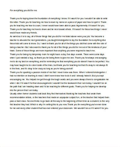 thank you letter to kindergarten sle thank you letter to 6 exles in word pdf