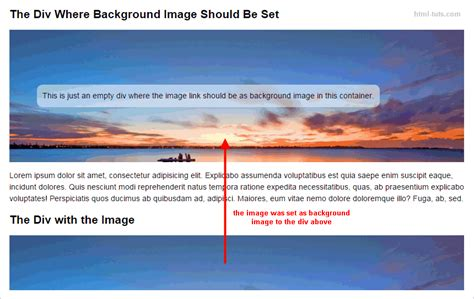 add background image to div how to set background image in html5 using css how to