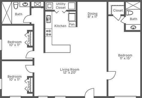 floor plan bed amusing two bedroom two bathroom house plans ideas best
