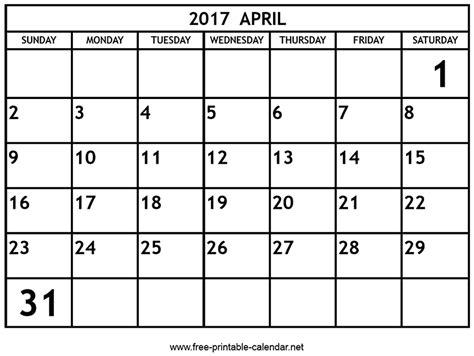 April Calendar Printable Pdf Printable April 2017 Calendar Print Calendars