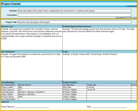 project management charter template six sigma project