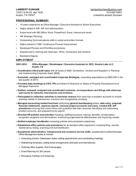 Resume Exle For An Administrative Assistant Office Manager Office Manager Executive Assistant Resume For Lambert Dunham 6 12 2