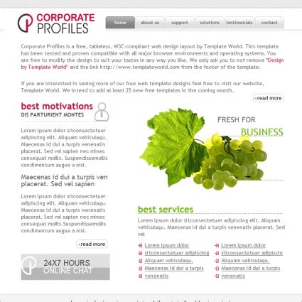 company profile html template corporate profiles template free website templates in css