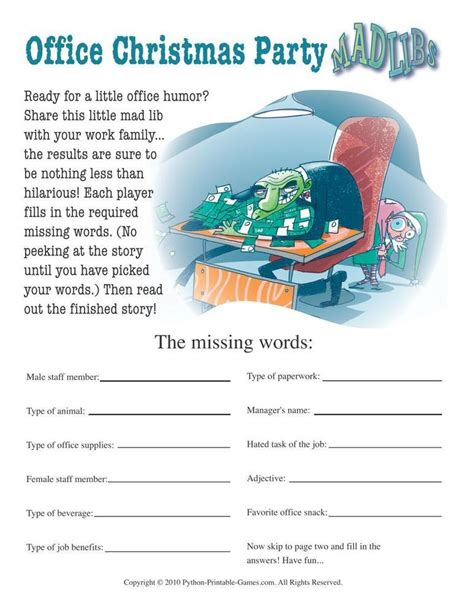printable christmas games for office for the office office mad libs 6 95 printable for the office