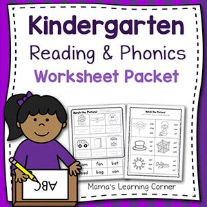 Phonics Reading Worksheets For Kindergarten by Kindergarten Reading And Phonics Packet 1 Mamas Learning