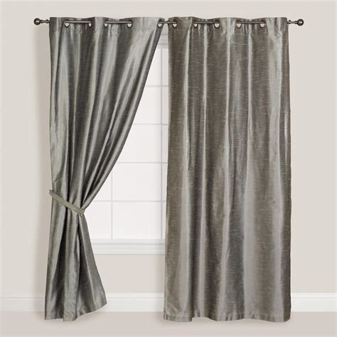Silver Curtains Silver Dupioni Grommet Top Curtains Set Of 2 World Market