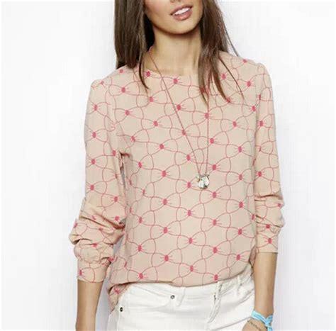 sweet bowknot print blouses summer chiffon blusas femininas o neck sleeve shirts