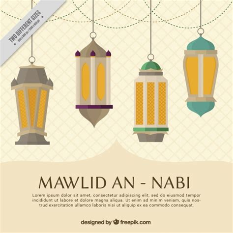 background maulid mawlid an nabi background with lanterns vector free download