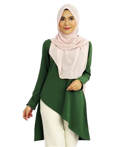 Blouse Muslimah qhalisha asymmetric blouse moss green qb005a aqeela muslimah wear